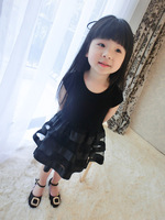 Children's clothing spring and summer 2014 child baby one-piece dress flower girl princess dress  patchwork