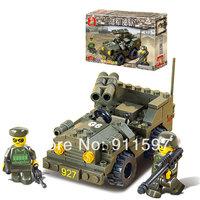 Free shipping creative assemble Building blocks children military Double gun suvs Building blocks puzzle toy model #W0009