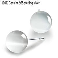 Wholesale Genuine 925 sterling silver opals ball fashion stud earrings wedding jewelry for women C3165
