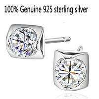 Wholesale Genuine 925 sterling silver crystal fashion stud earrings wedding jewelry for women men 1Q862