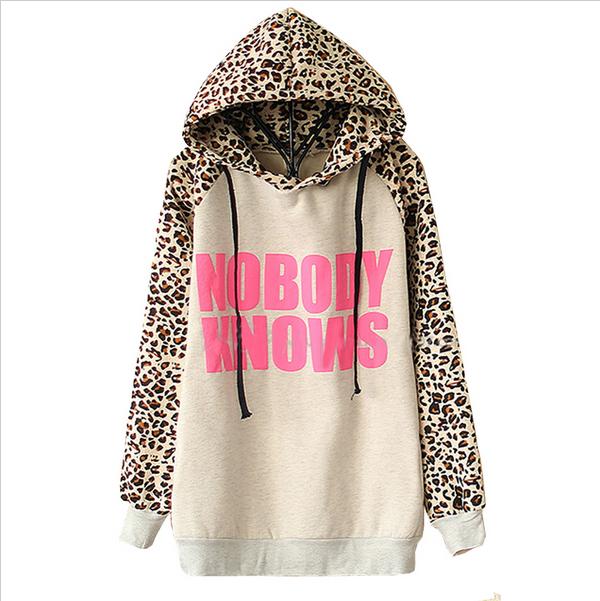 2015 New Hoodies Sports Sweatshirt Autumn Fashion Women Light Grey NOBODY KNOWS Print Hooded Leopard Casual Sweatshirt LS322(China (Mainland))