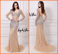 RBC078 Luxury Plus Size Fully Colorful Crystal Party Dresses 2014 New Arrival Long Sleeve  Mermaid Prom Dress