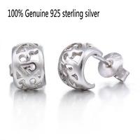 Wholesale Genuine 925 sterling silver hollow flower fashion stud earrings wedding jewelry for women 6P814