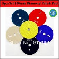 "New Free Shipping Premium 5pcs/lot Dry diamond polish pad 4"" diameter and 2/3"" inner diameter for marble granite floor and stone"
