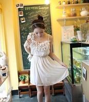 2013 Women New Free Shipping Sweet Floral One Shoulder Chiffon Dress White TQ12021404