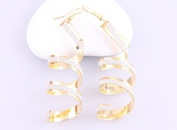 HS-005 # Mini Order is $10(Mixed Order), Hot Fancy American OL style drop spiral earrings, Silver and Gold, Wholesale
