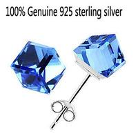 Wholesale Genuine 925 sterling silver crystal fashion stud earrings wedding jewelry for women 2H157