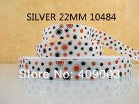 50Y10484 kerryribbon free shipping 7/8 '' (22mm) silver printed ribbon Grosgrain ribbon diy garment accessories