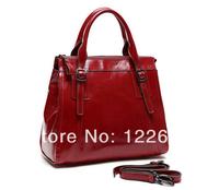2014 first layer cowhide leather handbag oil wax luxury women's bag free shipping B-118