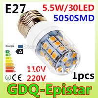 E27-5.5W-5730 SMD-30 LEDs 1pcs/lot New and hot selling 100-130V/200-240V LED Corn Light Bulb Lamp Warm white /white
