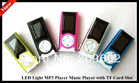 Free shipping Mini Clip Design Digital LED Light MP3 Player Music Player with TF Card Slot