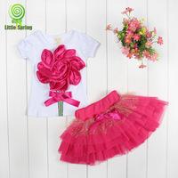 Free shipping -4sets/lot -2pcs baby clothing suits-Girls Big Cloth Flowers T-shirt+Bow Tu Tu Skirts Suits