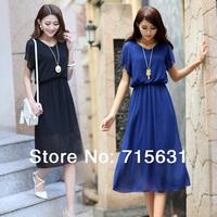 2014 Spring Summer Womens Plus Size Bohemian Beach Dress, Chiffon Slim Short-Sleeve V-Neck Long Basic Dresses, 4 Colour S-XXL
