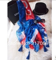 BIG SIZE! NEW 2014 Fashion  Union Jack assel pendant shawl beach towel   c  clock dot  Free Shipping SC-23