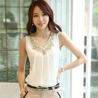 Free shipping women white shirt Fashion Casual t shirts Chiffon top O-neck Sexy sleeveless tops black blouse NT
