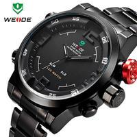 3ATM Dual Time LED Analog Display Sports Quartz Wristwatches, WEIDE Military Men Watch