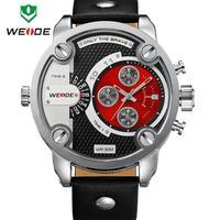 Dual Time Zone, 30M Waterproof, Genuine Leather Strap Watch, Weide Men, Japan MIYOTA Movement Dropship