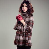2013 plaid medium-long cloak woolen overcoat woolen outerwear plaid Y8P2