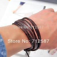 2pcs fashion Jewelry Wrap multilayer Genuine Leather Braided Rope Wristband bijouterie Cuff  Love bracelets & bangles#5549