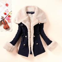 2014 slim berber fleece linning fur coat large lapel plus velvet thickening thermal double breasted overcoat P7