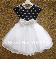 wholesale baby girl Crystal Decoration princess dress, navy and white dot with bow kid girl party dress 6pcs/lot MK08