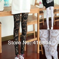 Womens Ladies Lace Mesh Hollow Out Skull Pattern Slim Pantyhose Leggings