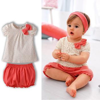 Retail+new 2014 de verano los niños niñas conjunto ropa( superior + pantalones cortos) 2 piezas conjunto ropa, de cerezo de diseño deimpresión, baby& ropa de los niños