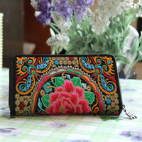 National wallet trend Women small bag vintage women's double faced embroidered embroidery long design wallet