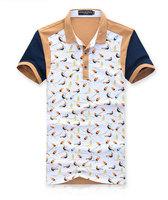 2014 New Deep V Turn-down Collar Men T-shirts Breathable Polka Dot Birds Patched Men's T Shirt Korean Slim Summer Stylish Tees