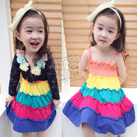2014 summer girls clothing baby child spaghetti strap one-piece dress qz-0294