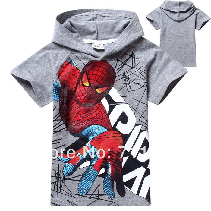 Spiderman cartoon children hoodies New baby boys t shirt brand Children Tops Tees Summer Wear Short Sleeve Children clothes(China (Mainland))