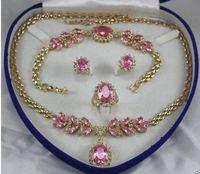 Beautiful pink necklace bracelet Earring Ring