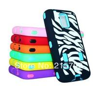 Latest Zebra Hybrid Rugged Impact Hard PC Inserts + Silicone Skin Case Cover for Samsung Galaxy S5 i9600 200pcs/lot