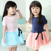 2014 summer bow girls clothing baby child qz-0590 short-sleeve dress
