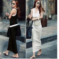 free shipping 8882 women's solid color sleeveless sweatshirt full dress set plus size set casual set