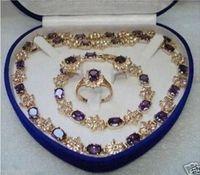 Amethyst Earring Bracelet Necklace Ring Set