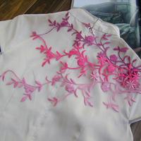 Slitless vine flower blade fabric applique embroidery cheongsam formal dress decoration glue