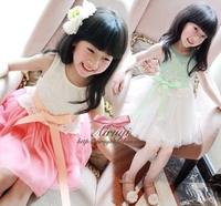 Children's clothing girl dress one-piece girls dress 2014 children laciness suspender skirt baby & kids princess dress skirt
