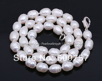 Real natural Freshwater jewelry GENUINE 12*14MM WHITE CULTURED FRESHWATER PEARL NECKLACE  Silver hook necklaces