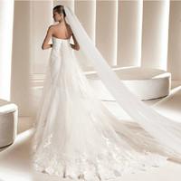 The bride wedding dress comb veil long design double layer train ultra long 3 meters soft head yarn