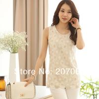 Free Shipping Women Sleeveless Chiffon Lace Shirts,Women Vest Blouse For Summer Size S,M,L,XL