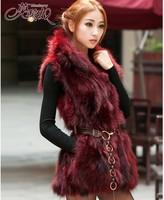 2014 new autumn winter 100% real natural stand collar women's raccoon fur vest fox fur vest rabbit fur vest WTP0