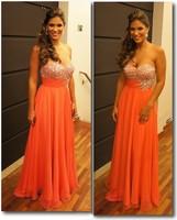 2014 New Arrival Sexy Prom Dresses Sweetheart Crystal Beading Chiffon Zipper Chiffon Sleeveless Long Evening Gowns