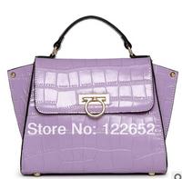 2014 new fashional crocodile texture handbag female genuine leather smiley phantom bag free shipping B-125