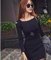 Fashion 2014 New Autumn winter Casual Vestidos Women Sexy Off Shoulder Long Sleeve Slim Knit Knitwear Sweater Dress Black/Grey