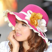 Hat female summer millinery sunbonnet strawhat anti-uv sun hat large brim beach sun protection cap flower