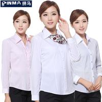HOT SALE Womens White Business Dress Shirts Long-sleeve Plus Size Work Wear Shirts Mandarin Collar V-neck Formal Dress Shirts