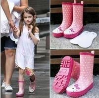 New 2015 Children's Waterproof Boots For Kids Cartoon Rain Boots Children's Rainboots Girls Pink Rubber Shoes Kalosze Damskie