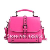 2014 new arrival women's popular rivet bag small cowhide leather handbag free shipping B-128