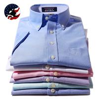 2014 Summer Formal Dress Shirts Men Cotton Oxford Button-down Short-sleeve Dress Shirts Size 38-44 Stripe Business Shirt for men